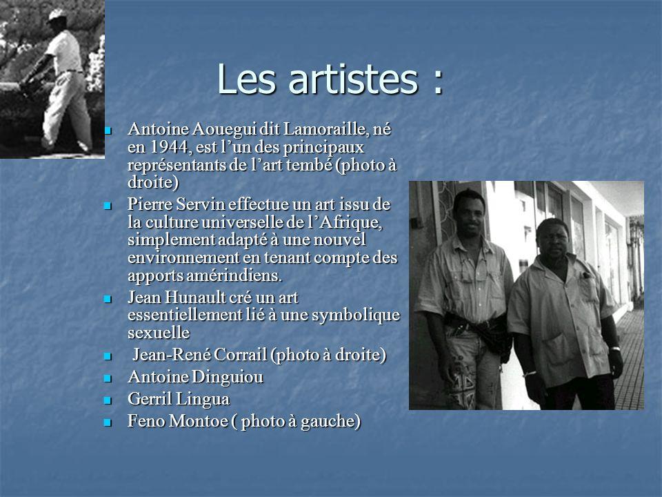 Les artistes : Antoine Aouegui dit Lamoraille, né en 1944, est l'un des principaux représentants de l'art tembé (photo à droite)