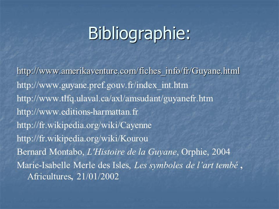 Bibliographie: http://www.amerikaventure.com/fiches_info/fr/Guyane.html. http://www.guyane.pref.gouv.fr/index_int.htm.