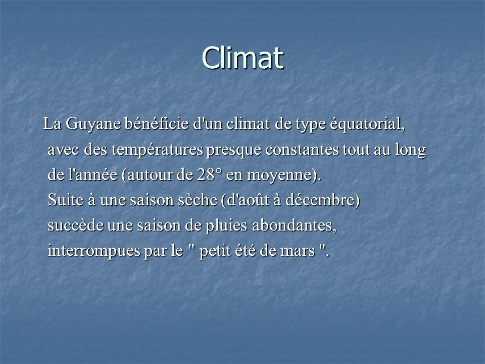 Climat La Guyane bénéficie d un climat de type équatorial,