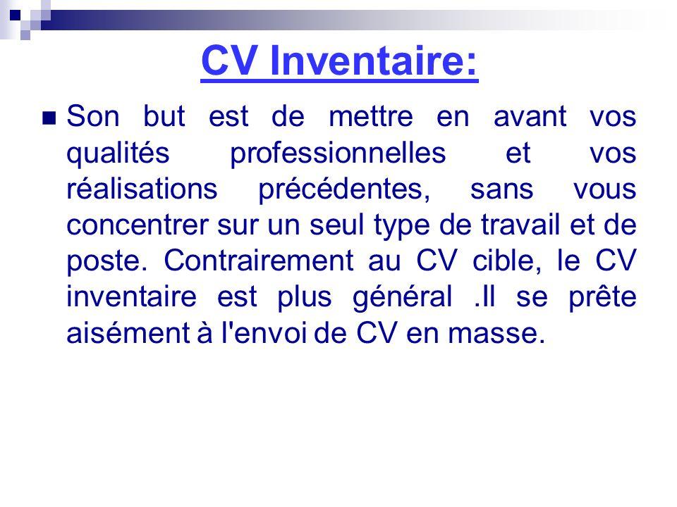 CV Inventaire: