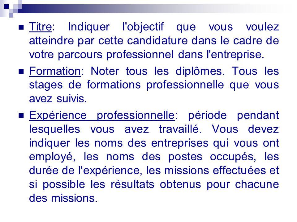 Titre: Indiquer l objectif que vous voulez atteindre par cette candidature dans le cadre de votre parcours professionnel dans l entreprise.