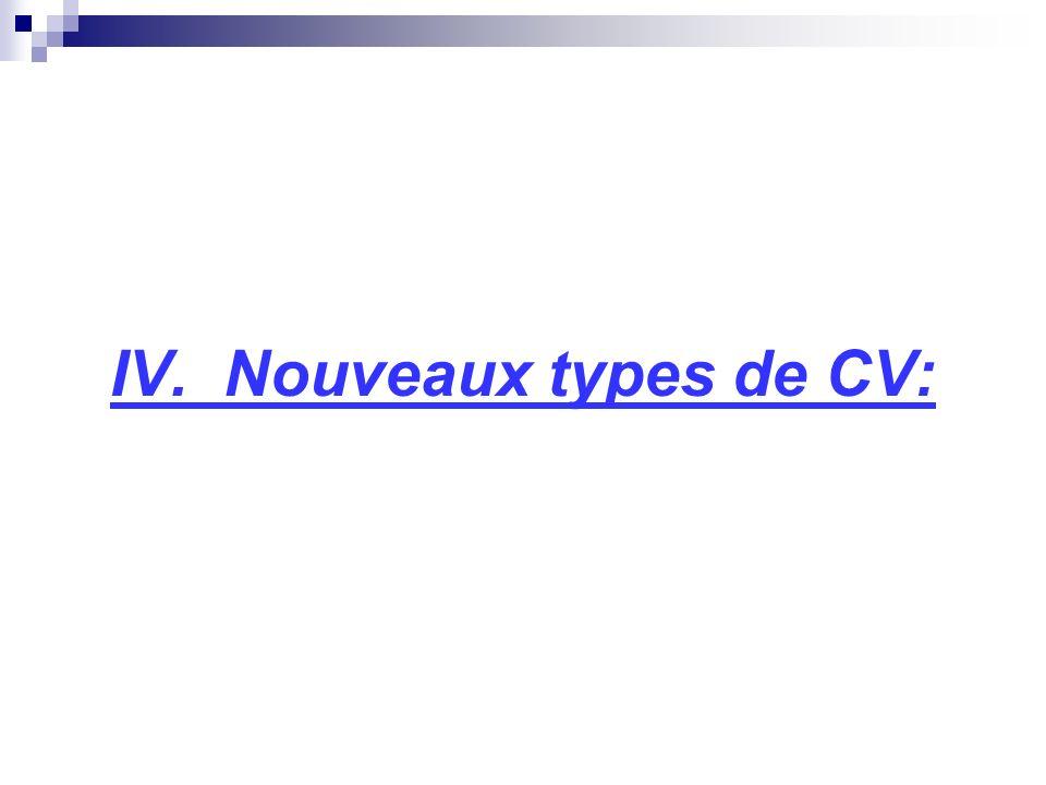 IV. Nouveaux types de CV: