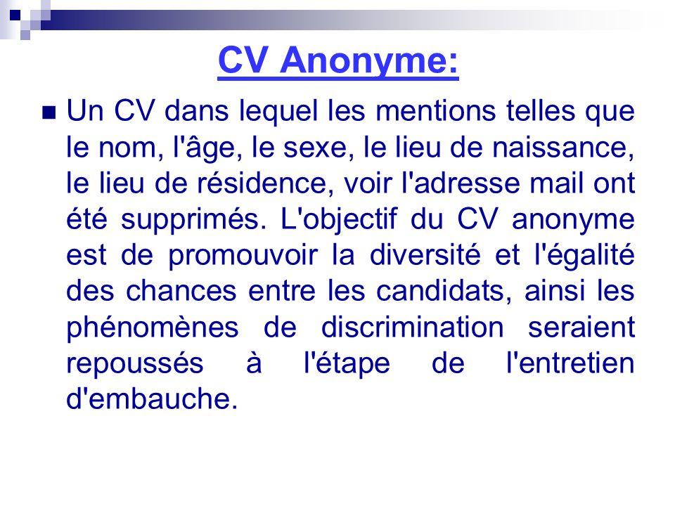 CV Anonyme: