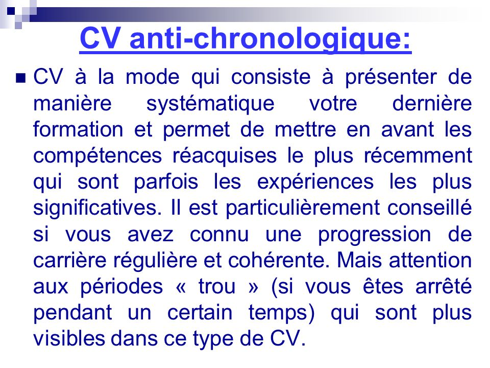 CV anti-chronologique: