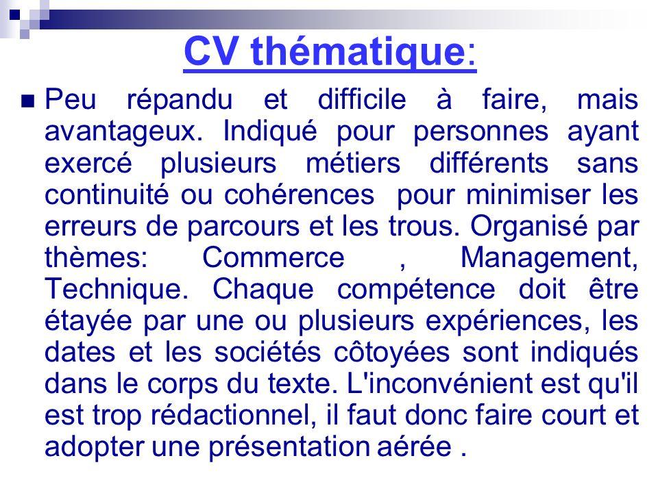 CV thématique: