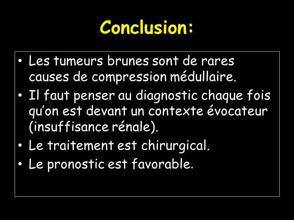Conclusion: Les tumeurs brunes sont de rares causes de compression médullaire.