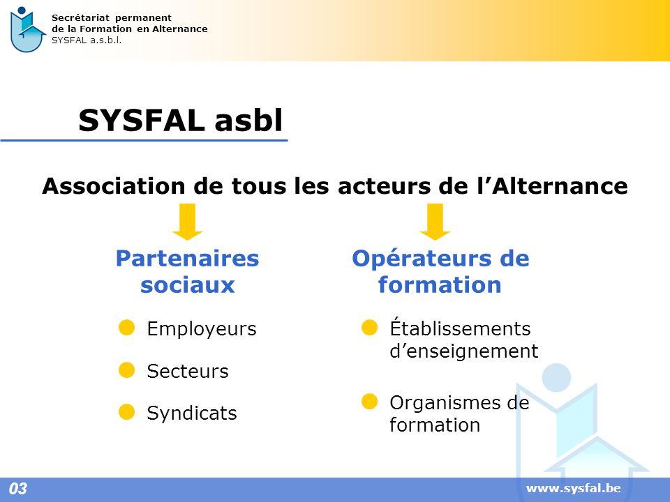 SYSFAL asbl Association de tous les acteurs de l'Alternance