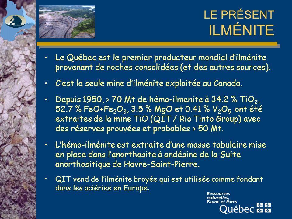 LE PRÉSENT ILMÉNITE Le Québec est le premier producteur mondial d'ilménite provenant de roches consolidées (et des autres sources).
