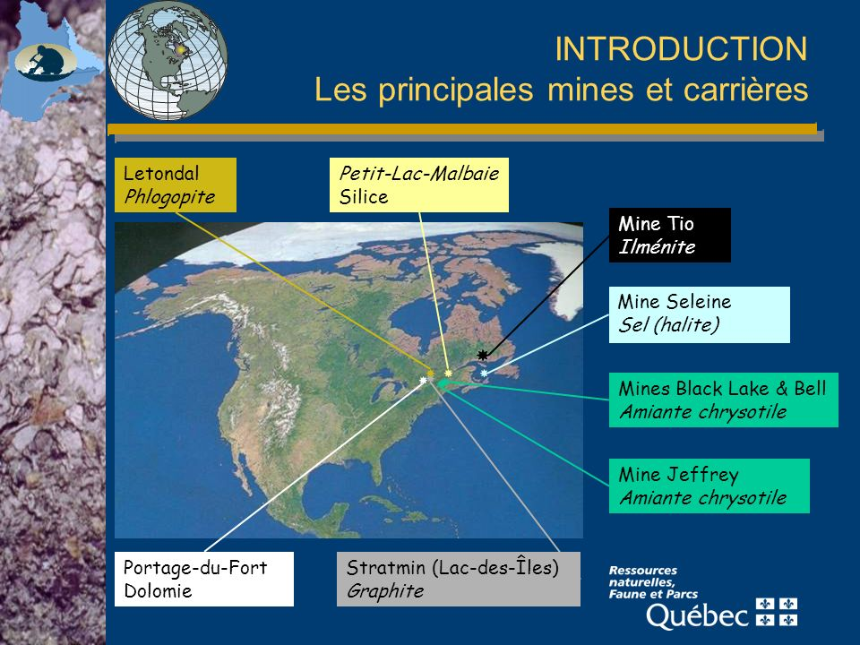 INTRODUCTION Les principales mines et carrières