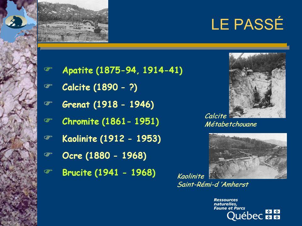 LE PASSÉ Apatite (1875-94, 1914-41) Calcite (1890 - )