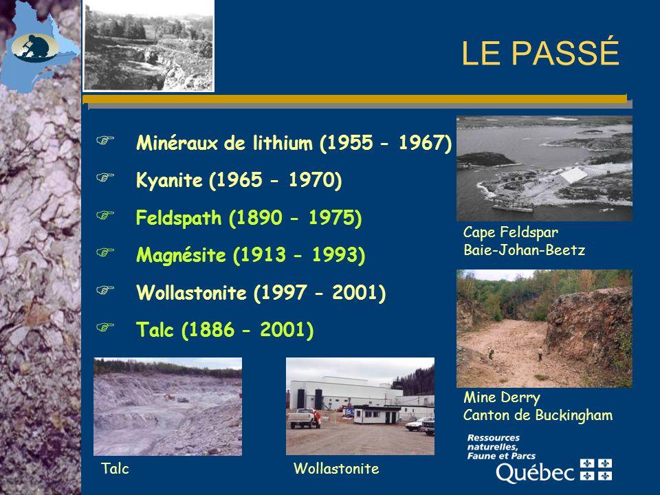 LE PASSÉ Minéraux de lithium (1955 - 1967) Kyanite (1965 - 1970)