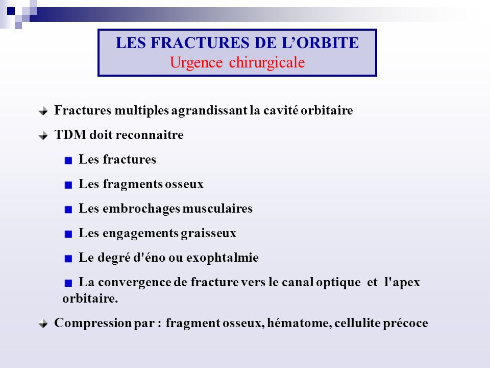 LES FRACTURES DE L'ORBITE Urgence chirurgicale