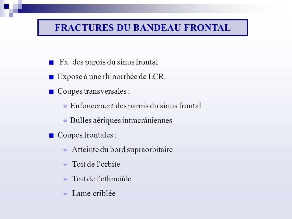 FRACTURES DU BANDEAU FRONTAL