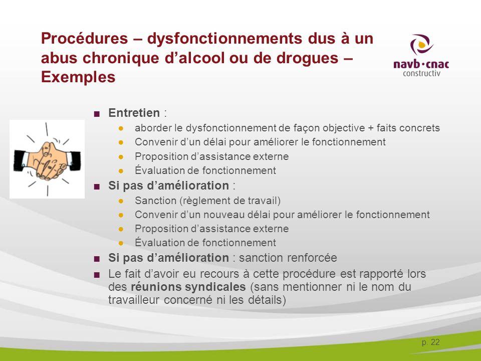 30-3-2017 Procédures – dysfonctionnements dus à un abus chronique d'alcool ou de drogues – Exemples.