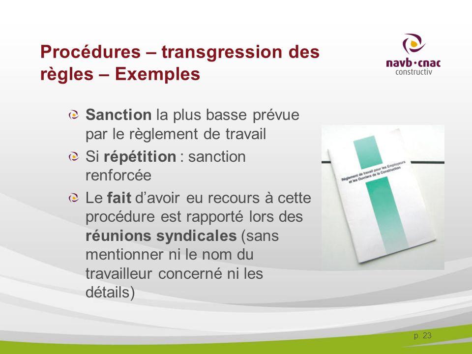 Procédures – transgression des règles – Exemples