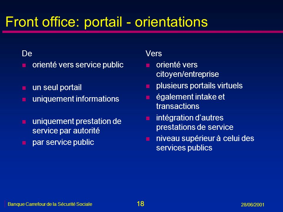 Front office: portail - orientations