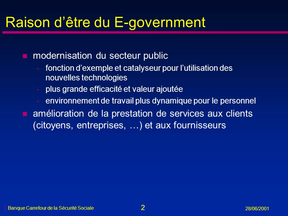 Raison d'être du E-government