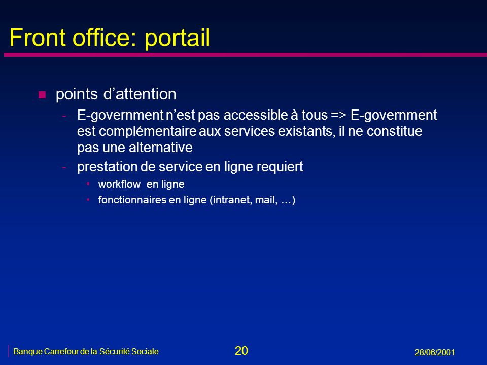 Front office: portail points d'attention