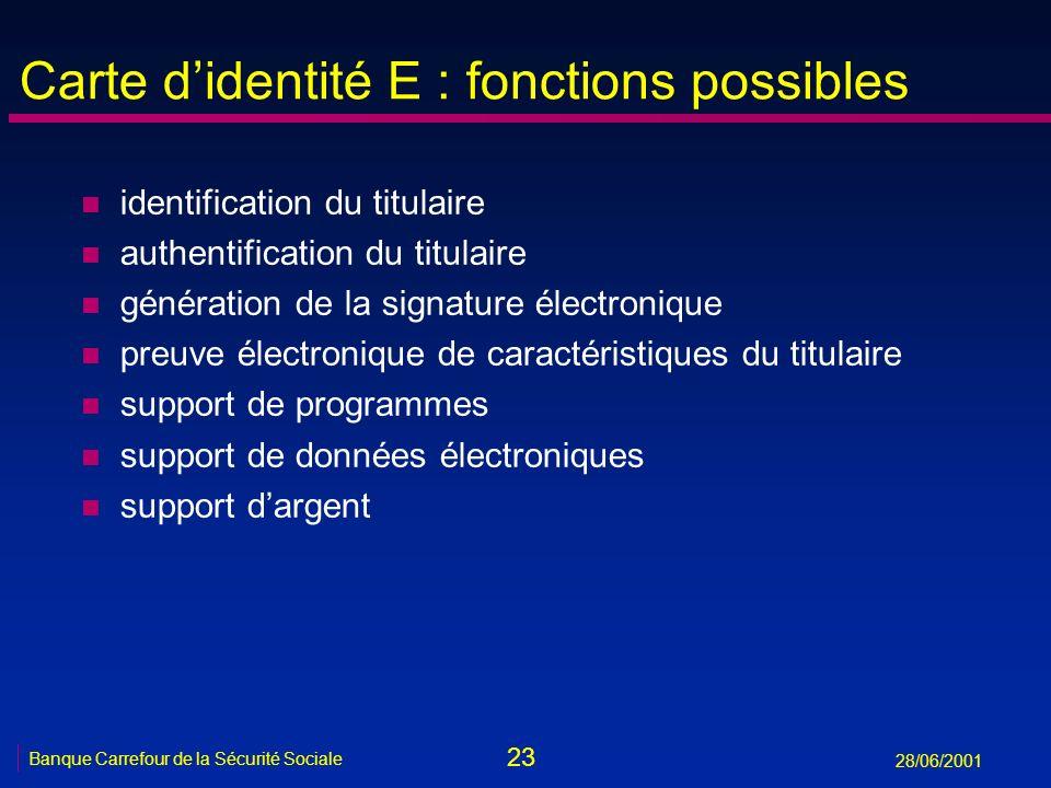 Carte d'identité E : fonctions possibles