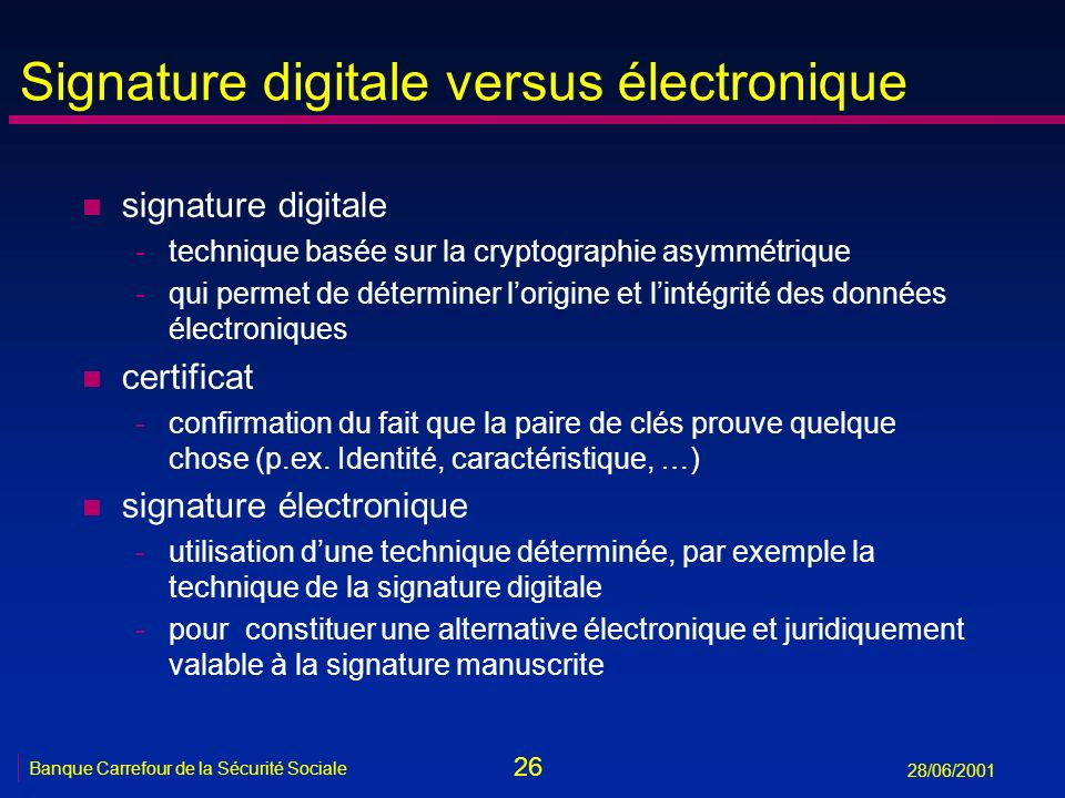 Signature digitale versus électronique