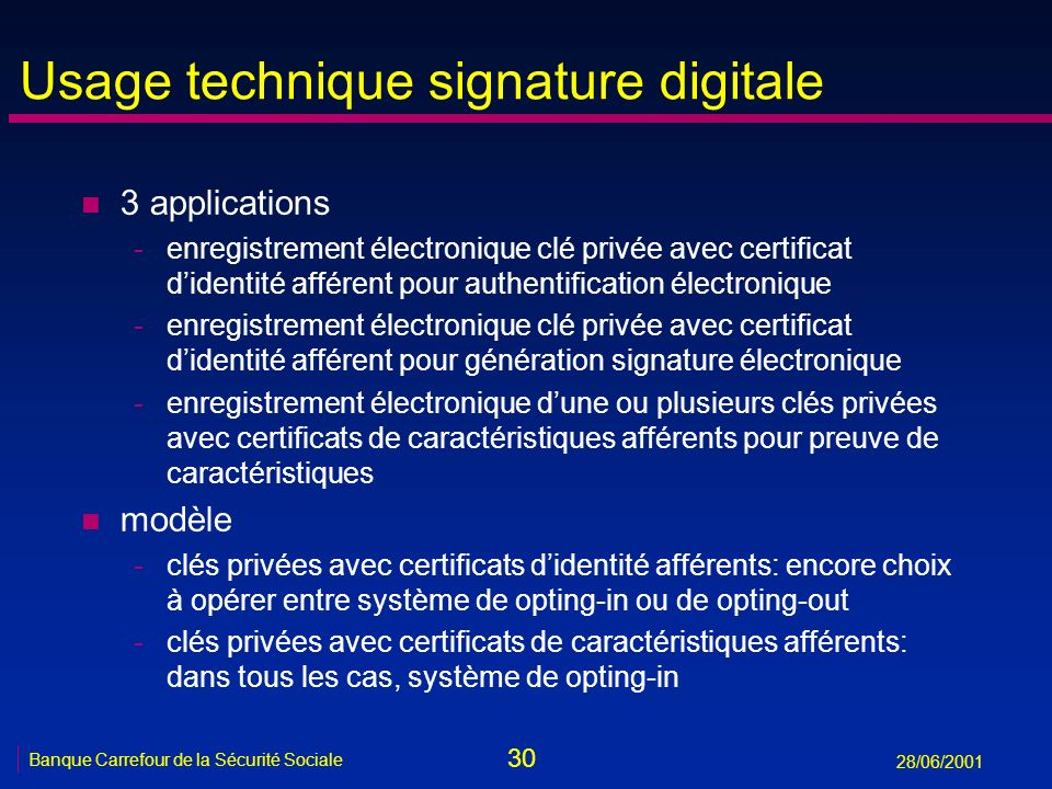Usage technique signature digitale