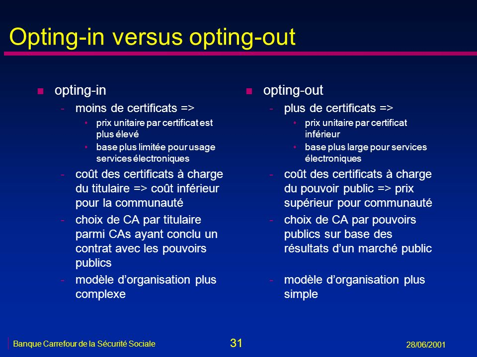 Opting-in versus opting-out