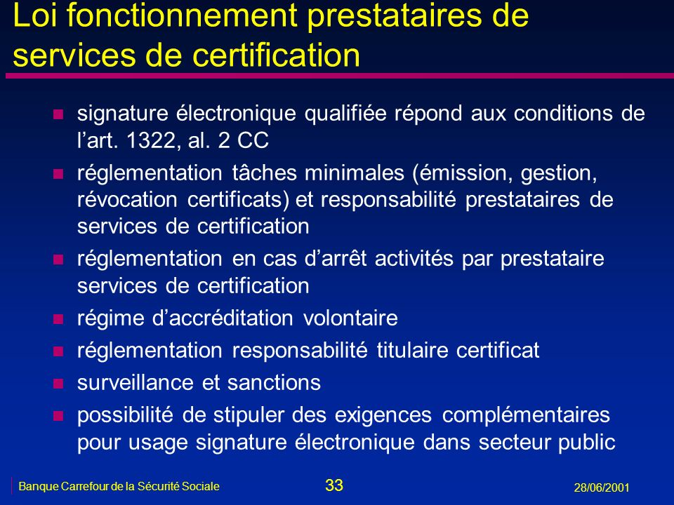 Loi fonctionnement prestataires de services de certification