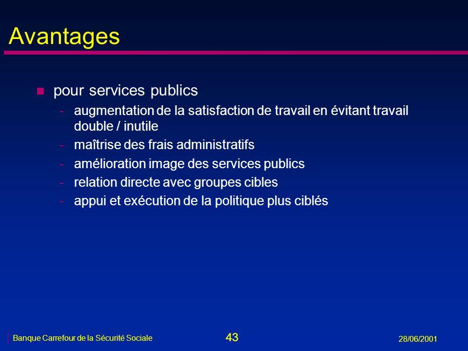 Avantages pour services publics
