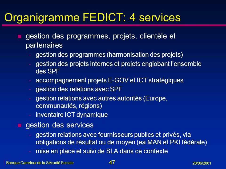 Organigramme FEDICT: 4 services