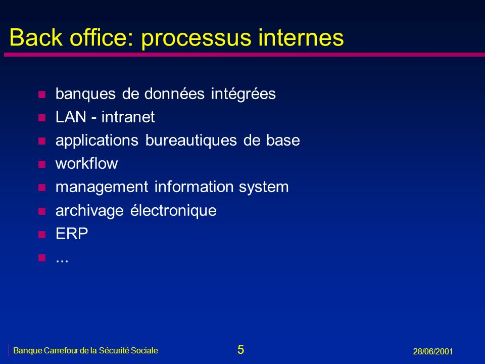 Back office: processus internes