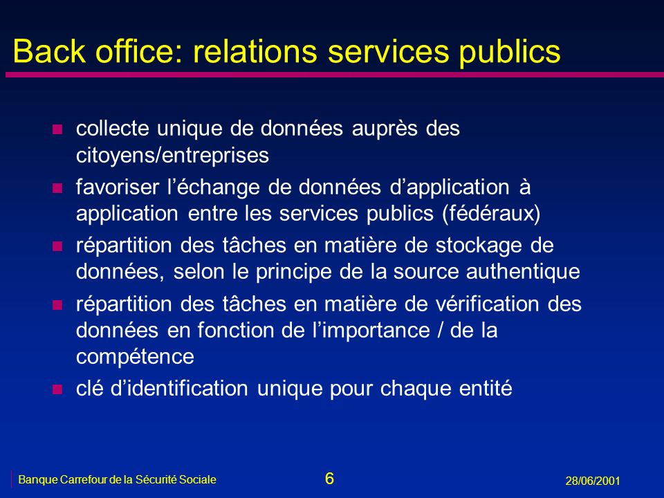 Back office: relations services publics