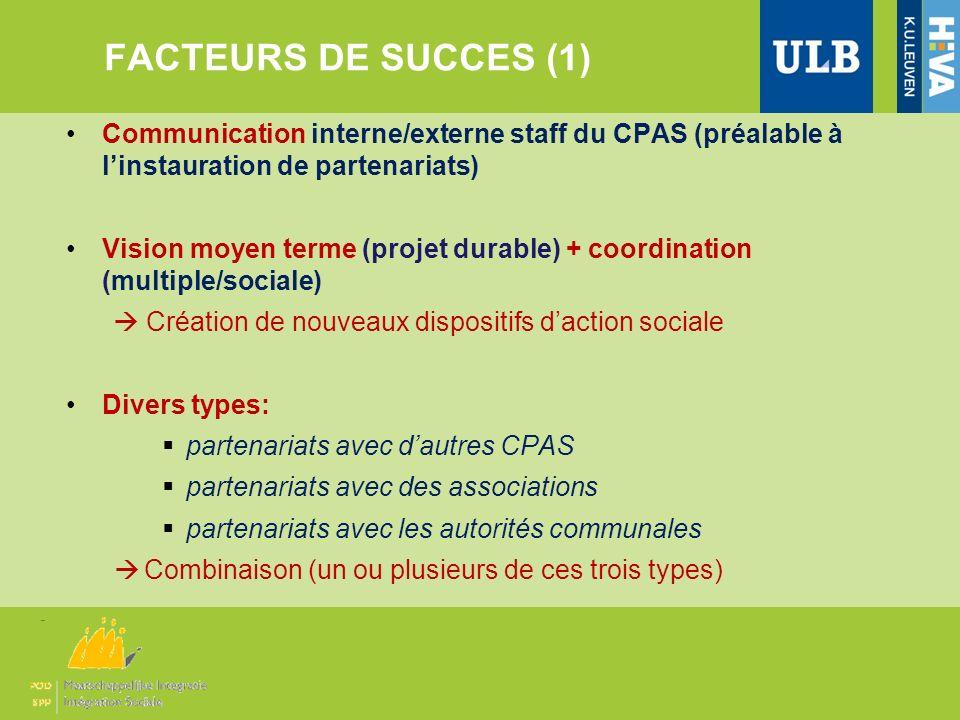 FACTEURS DE SUCCES (1) Communication interne/externe staff du CPAS (préalable à l'instauration de partenariats)