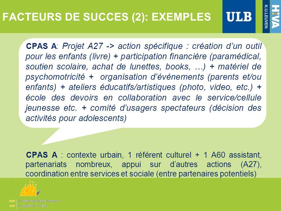 FACTEURS DE SUCCES (2): EXEMPLES