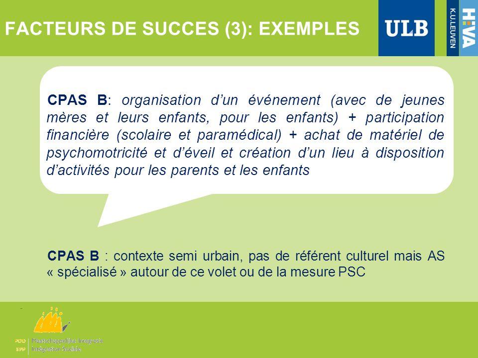 FACTEURS DE SUCCES (3): EXEMPLES
