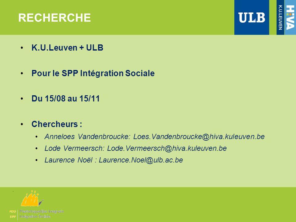 RECHERCHE K.U.Leuven + ULB Pour le SPP Intégration Sociale