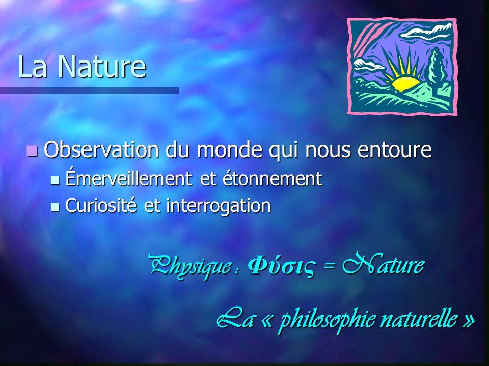 La Nature Physique : Φύσις = Nature