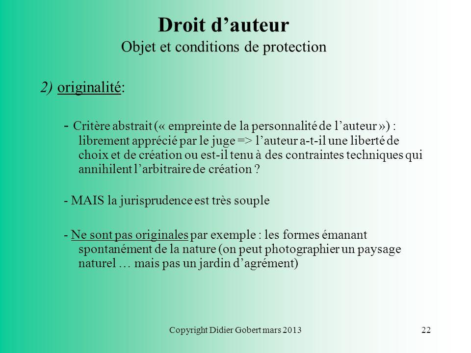 Droit d'auteur Objet et conditions de protection