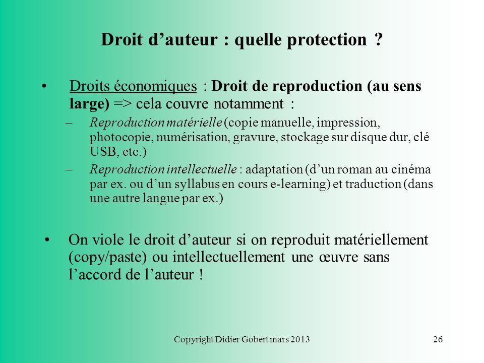 Droit d'auteur : quelle protection