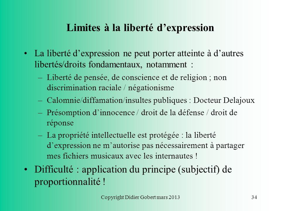 Limites à la liberté d'expression