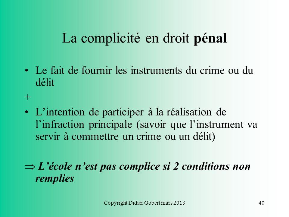 La complicité en droit pénal