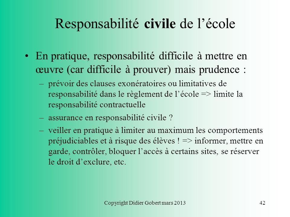 Responsabilité civile de l'école
