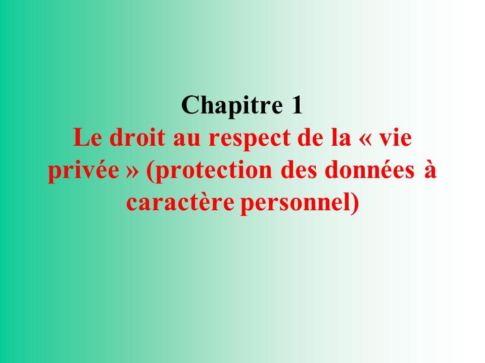 Chapitre 1 Le droit au respect de la « vie privée » (protection des données à caractère personnel)