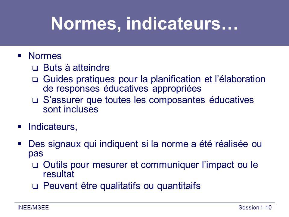 Normes, indicateurs… Normes Buts à atteindre