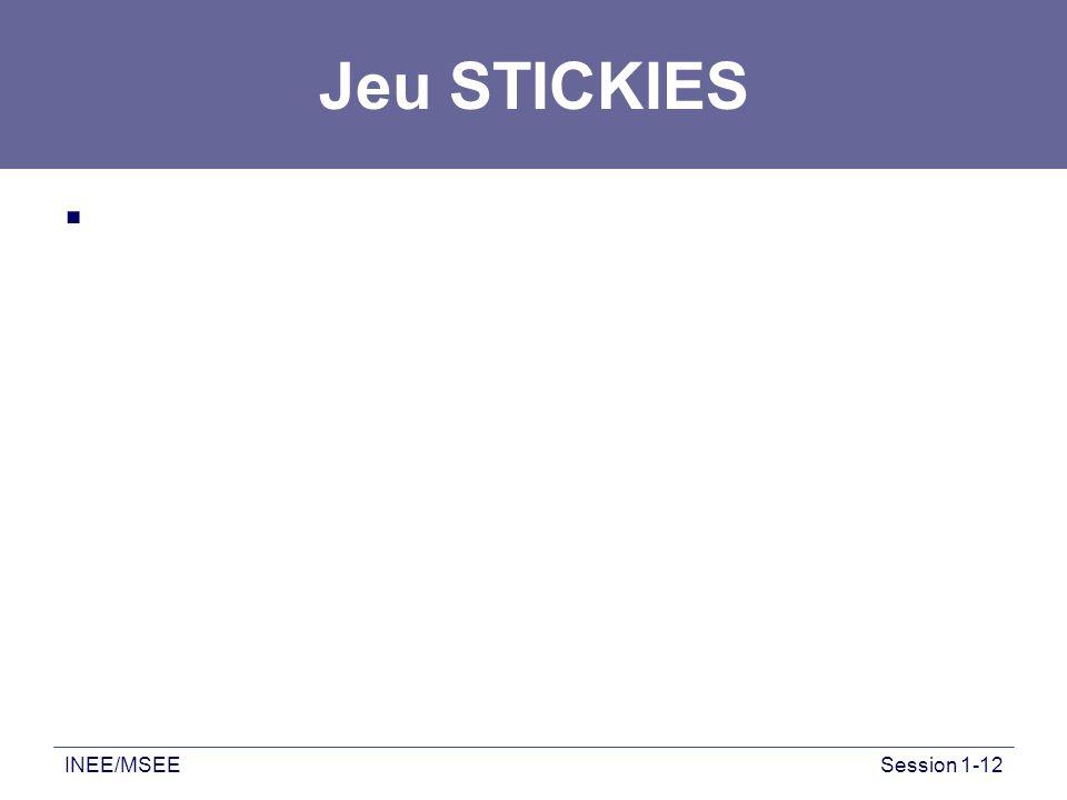 Jeu STICKIES INEE/MSEE