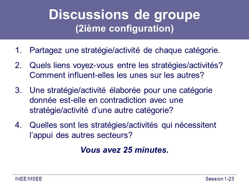 Discussions de groupe (2ième configuration)