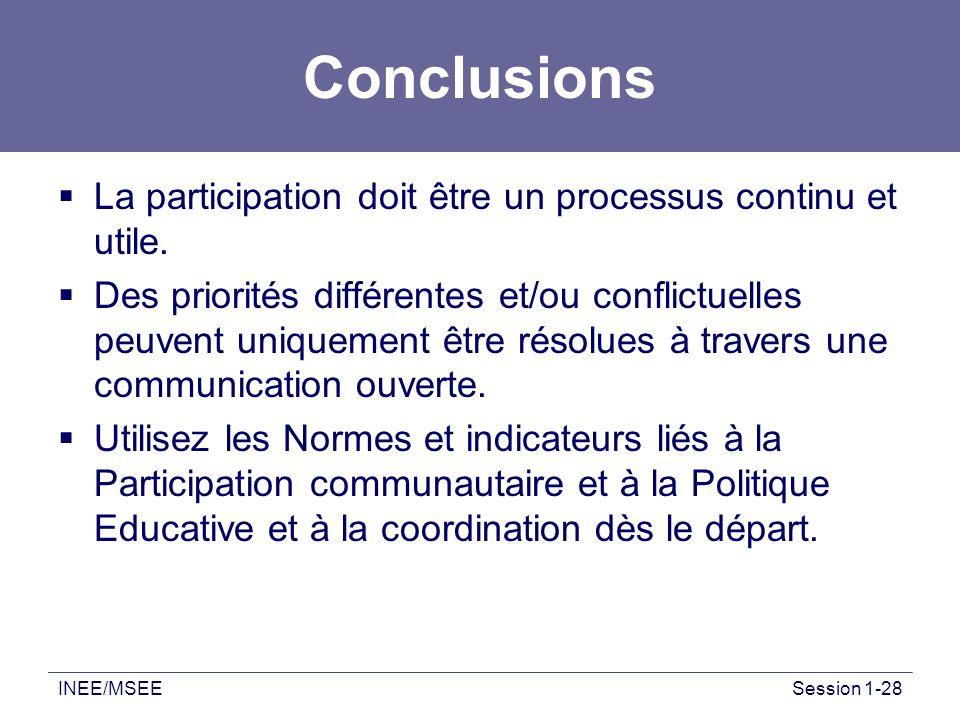 Conclusions La participation doit être un processus continu et utile.