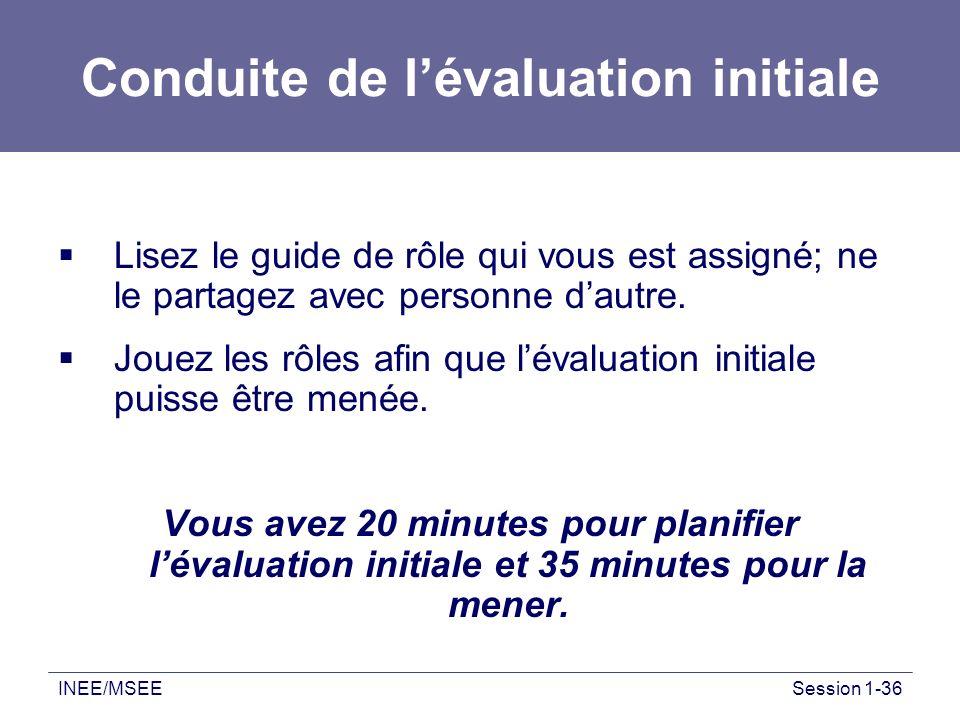 Conduite de l'évaluation initiale
