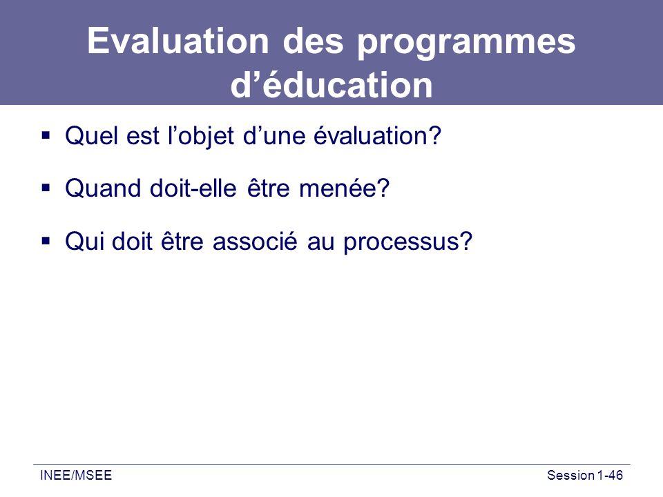 Evaluation des programmes d'éducation