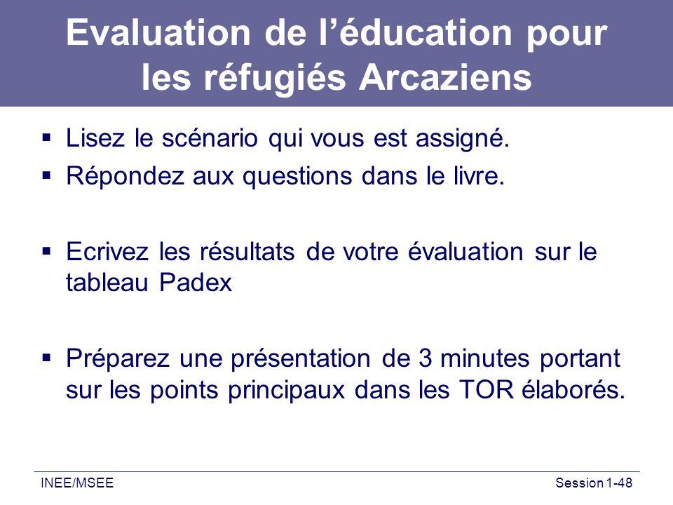 Evaluation de l'éducation pour les réfugiés Arcaziens