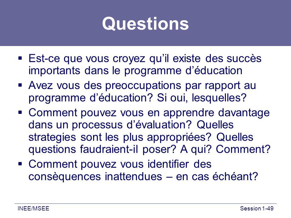Questions Est-ce que vous croyez qu'il existe des succès importants dans le programme d'éducation.